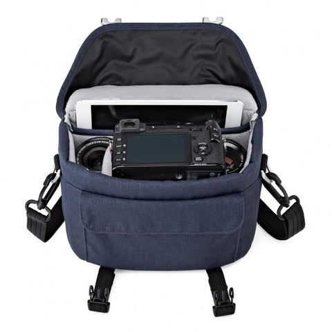 Lowepro Scout SH 140 Shoulder Bag for Mirrorless Camera with Lens, 2x Extra Lens, Mini Tablet and Smartphone (Slate Blue)