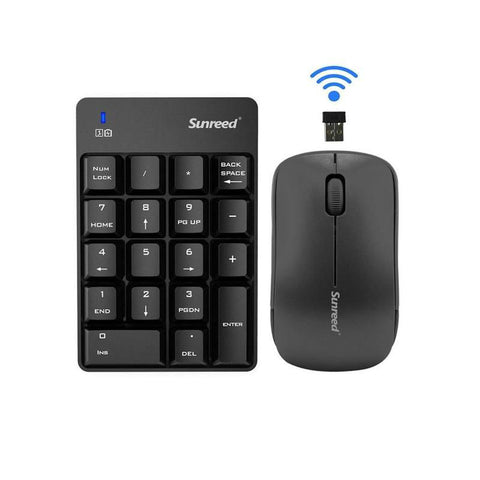 Wireless Notebook Digital Keyboard with Wireless Mouse (Black)