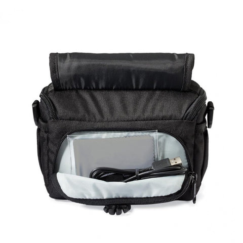 Lowepro Adventura SH 110 II Shoulder Bag for Camcorder/CSC with Kit Lens/Action Video Camera (Black)