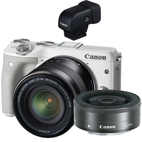 Canon EOS M3 with 22mm, 18-55mm and EVF-DC1 Viewfinder White Digital SLR Camera