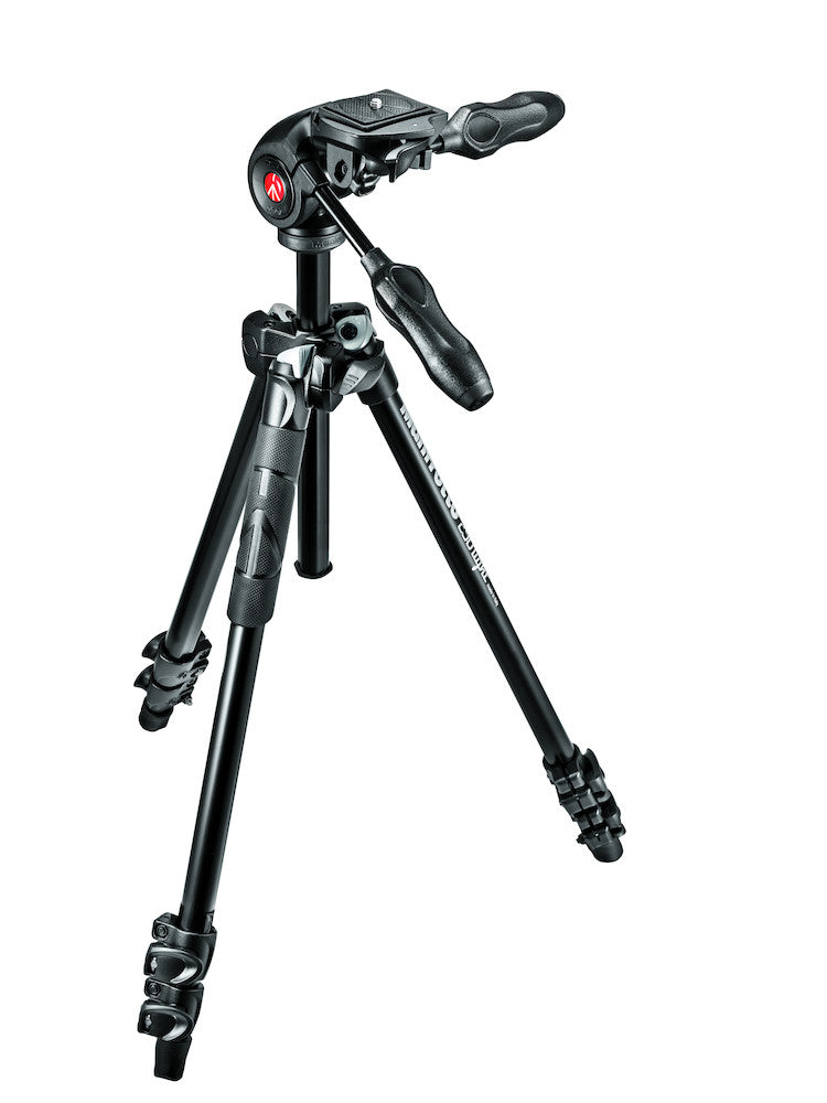 Manfrotto MK290LTA3-3W 290 Light Kit, Aluminum 3 section Tripod with foldable 3-way head