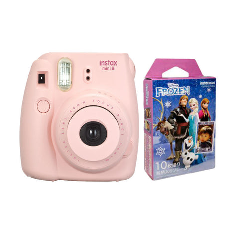 Fuji Film Instax Mini 8 Pink Instant Camera with Instax Mini (Frozen) Photo Paper