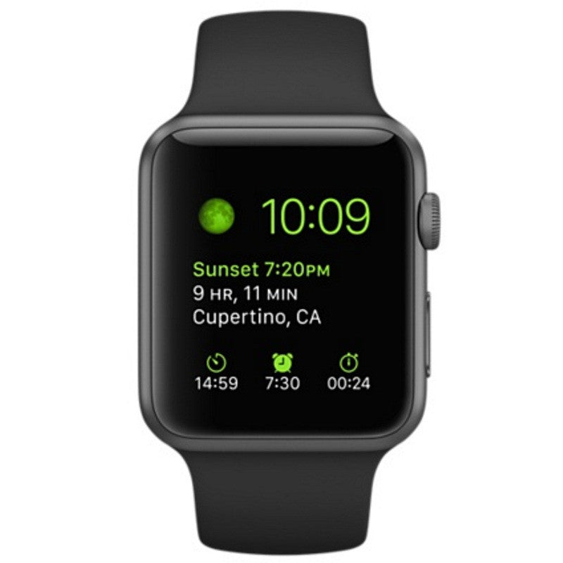 Apple Watch Sports 42mm Aluminum Case Black Sport Band 4J3T2 Space Gray (Apple Certified Pre Owned)