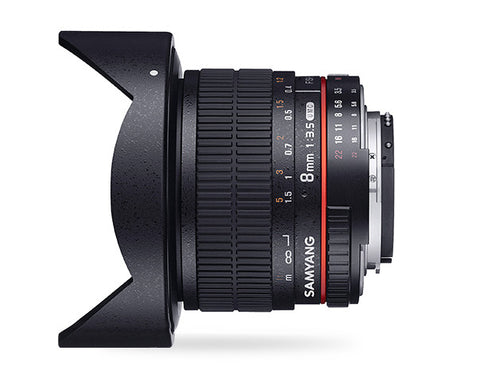 Samyang 8mm f/3.5 Fish-eye CS II with hood (Olympus) Lens