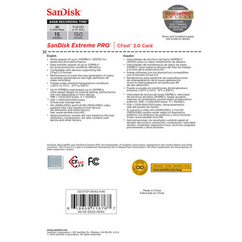 SanDisk Extreme PRO 64GB SDCFSP-064G (515MB/s) CFast 2.0 Memory Card