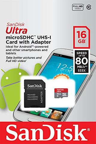 SanDisk Ultra 16GB SDSQUNC-016G-GN6MA MicroSDHC (Class 10) Memory Card with Adapter