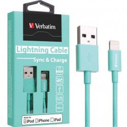 Verbatim Colorful Lightning Cable Sync & Charge 120cm to suit Apple iPhone and iPad (Mint Green)