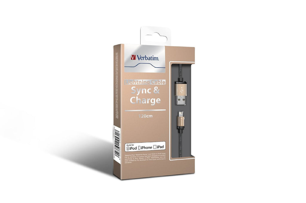 Verbatim Metallic Lightning Cable Sync & Charge 120cm to suit Apple iPhone and iPad (Gold)