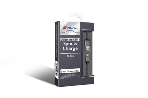 Verbatim Metallic Lightning Cable Sync & Charge 120cm to suit Apple iPhone and iPad (Space Grey)