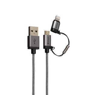 Verbatim Metallic 2-in-1 Cable Sync & Charge 120cm to suit IOS and Android (Space Grey)