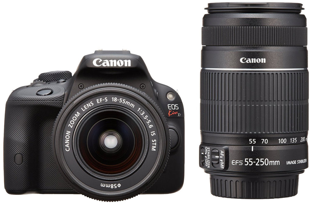 Canon EOS Kiss X7 with EF-S 18-55mm f/3.5-5.6 IS STM and EF-S 55-250mm f/4-5.6 IS II Lens Black Digital SLR Camera