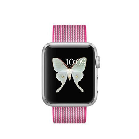 Apple Watch Sport 38mm Silver Aluminum Case Woven Nylon Band MMF32 (Pink)