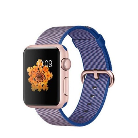 Apple Watch Sport 38mm Rose Gold Aluminum Case Woven Nylon Band MMF42 (Royal Blue)