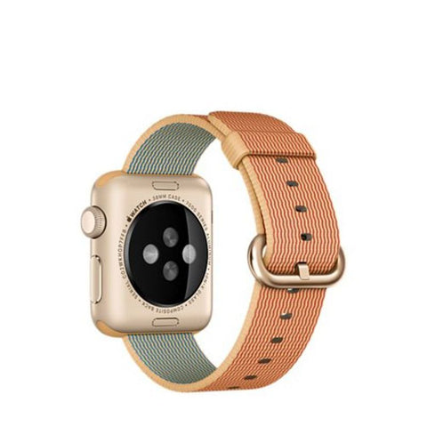 Apple Watch Sport 38mm Gold Aluminum Case Woven Nylon Band MMF52 (Gold/Red)