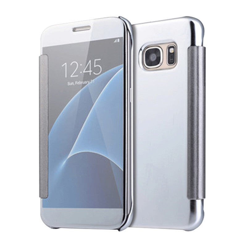 Smart Cover Phone Shell with Clip for Samsung S7 (Haoyue Silver)
