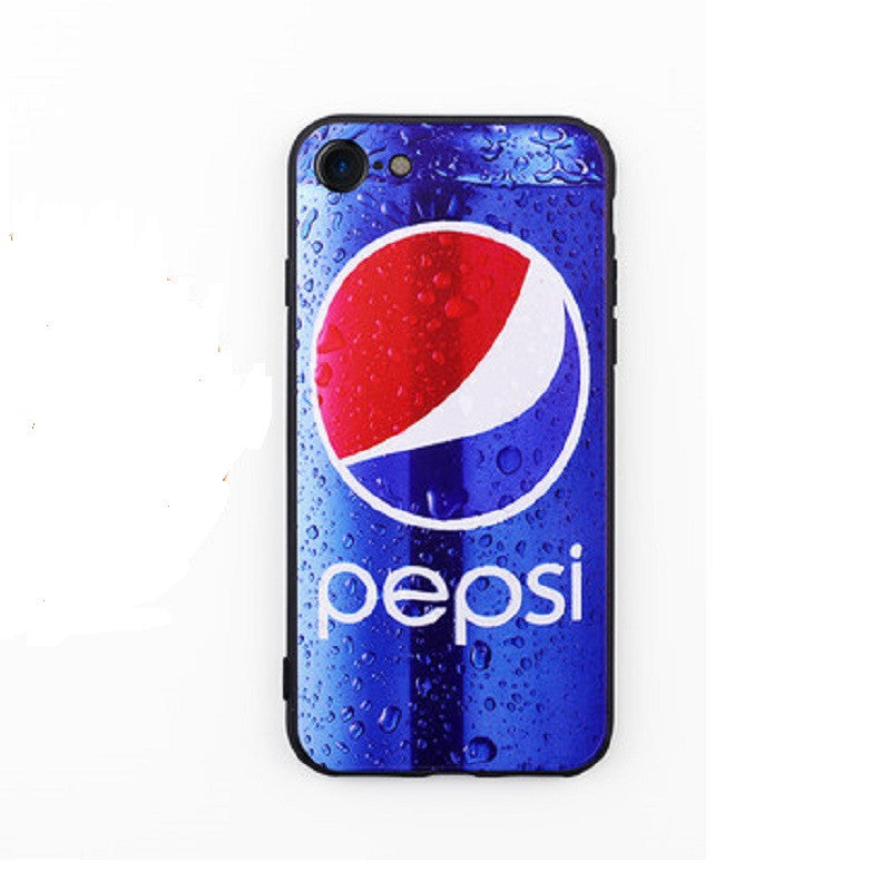 Soft Silicone Phone Shell Protective Sleeve for iPhone 7 Plus (Pepsi)