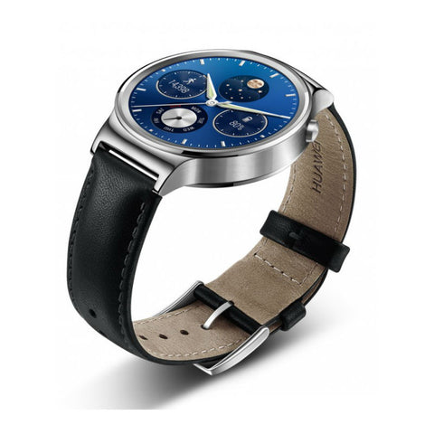 Huawei W1 Black Leather Smart Watch (Silver Case)