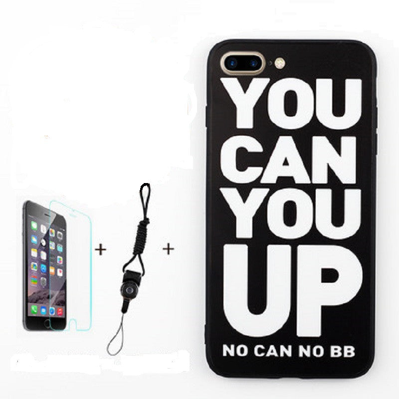 Soft Silicone Phone Shell with Film and Lanyard for iPhone 7 (You Can You Up)