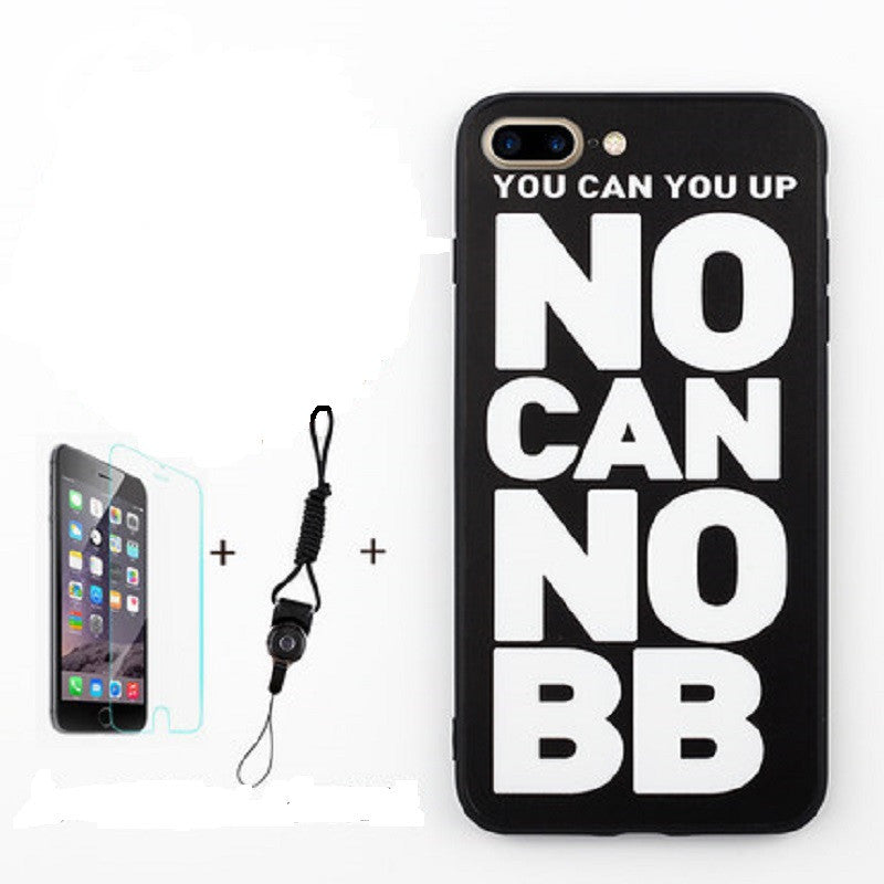 Soft Silicone Phone Shell with Film and Lanyard for iPhone 7 (No Can No BB)