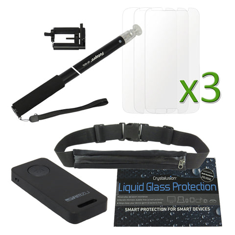 Outdoor Bundle Pack (Liquid Glass, Running Pocket, Selfie Stick with Remote, 3pcs Screen Protector)