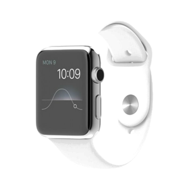 Apple Watch 42mm Stainless Steel Case Sport Band ML3V2 (White)