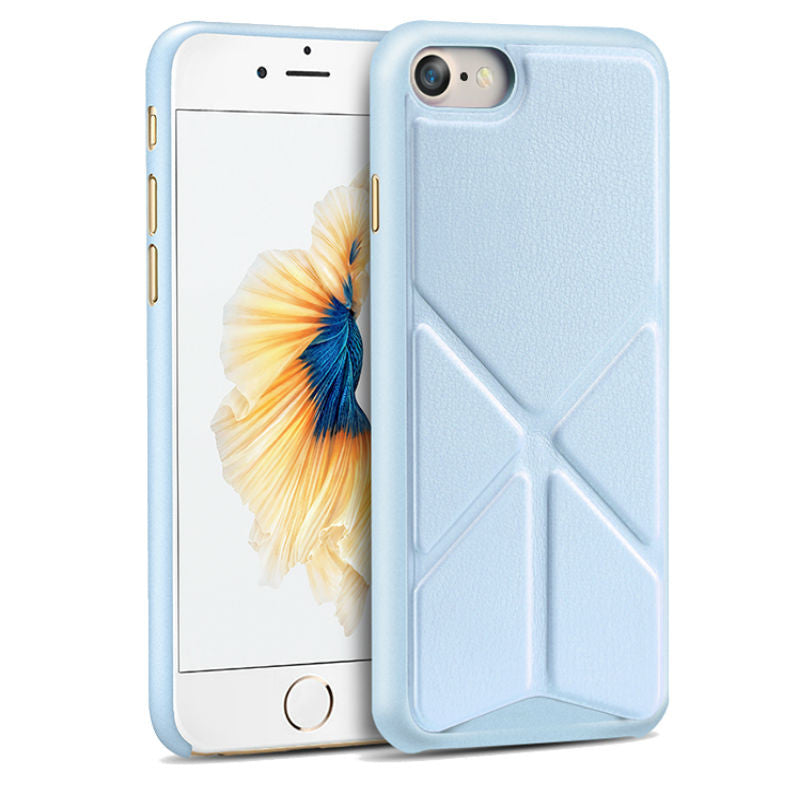 Protective Sleeve 4.7 inch Phone Shell with Stand for iPhone 7 (Blue)
