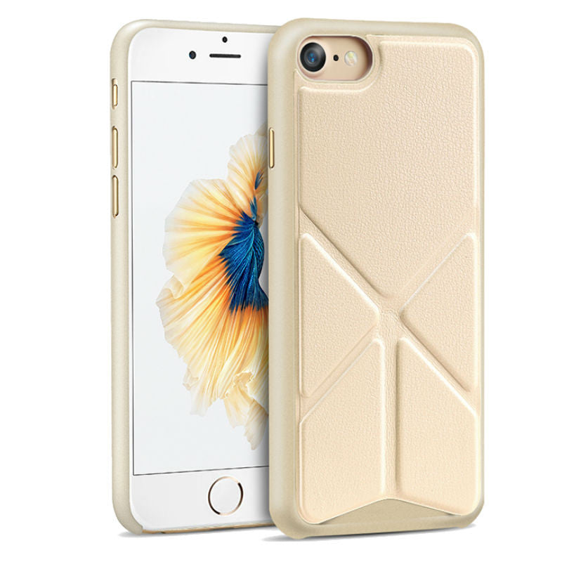 Protective Sleeve 4.7 inch Phone Shell with Stand for iPhone 7 (Gold)