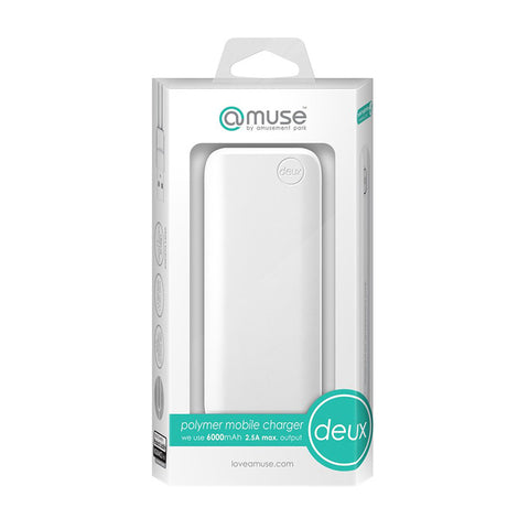 Amuse Deux 6000 mAh Polymer Power Bank (Pure White)