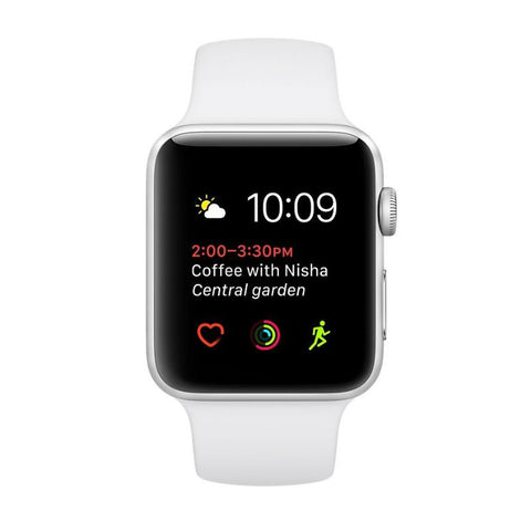 Apple Watch 38mm Silver Aluminium Case with White Sport Band MNNG2  (White)