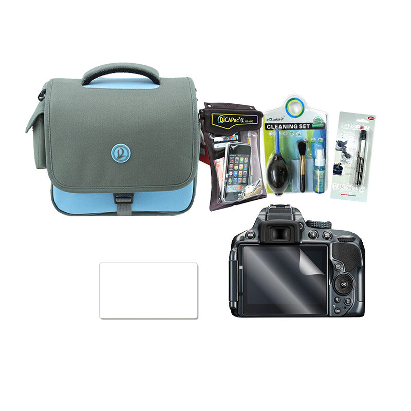 Waterproof Bundle Pack (Cleaning Kit, Lenspen, WP-M40 Case, Screen Protector, Camera Bag)