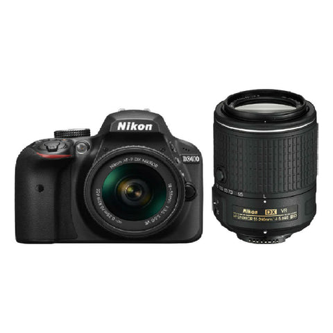 Nikon D3400 with 18-55mm and 55-200mm VR Lens Black Digital SLR Camera