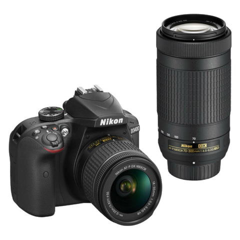 Nikon D3400 Black Digital SLR Camera with 18-55mm VR and 70-300mm ED Lens