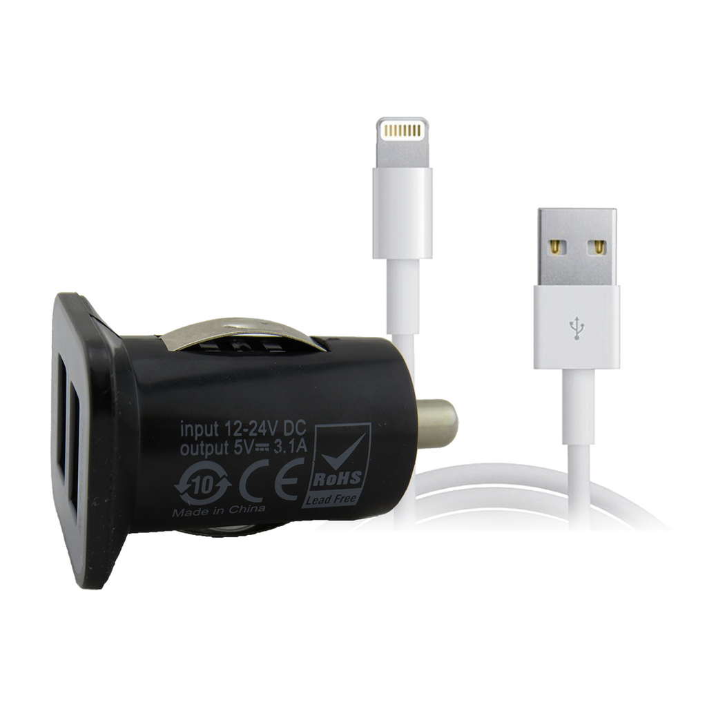 Car Charger Bundle Lightning USB Cable with Dual USB Car Plug Black