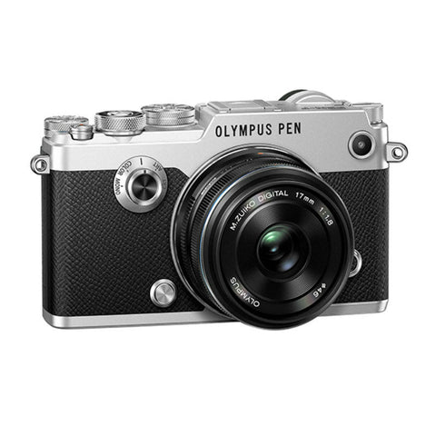 Olympus PEN-F with 17mm f1.8 Lens Silver Digital Mirrorless Camera