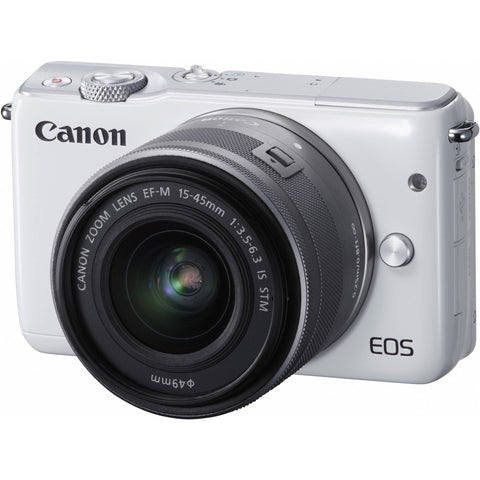 Canon EOS M10 with EF-M 15-45mm f/3.5-6.3 IS STM Lens White Digital SLR Camera