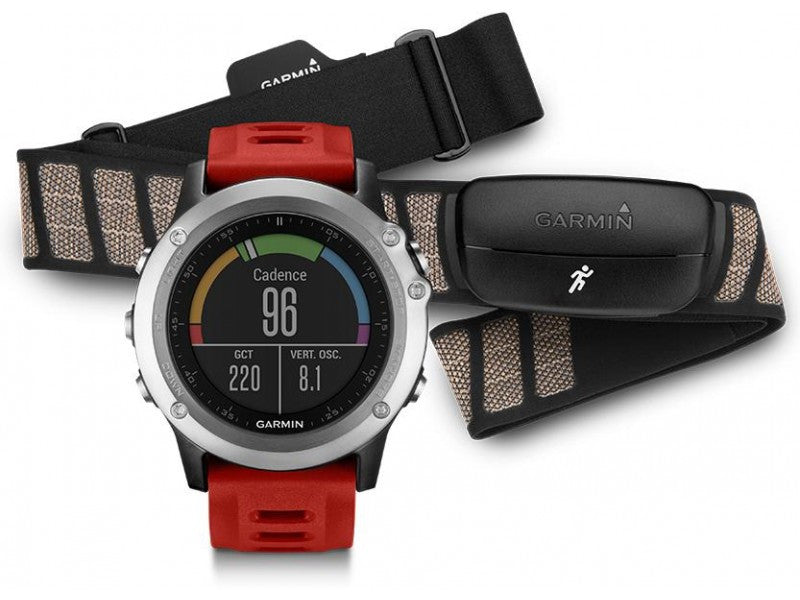 Garmin Fenix 3 Performer GPS Watch 010-01338-16 (Silver/Red) Bundle