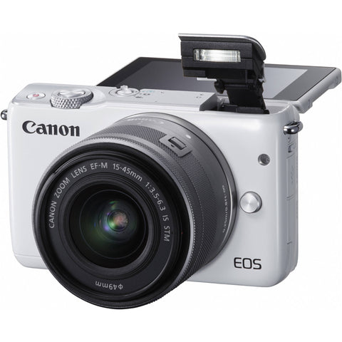 Canon EOS M10 with EF-M 15-45mm f/3.5-6.3 IS STM and EF-M 55-200mm f/4.5-6.3 IS STM Lens White Digital SLR Camera