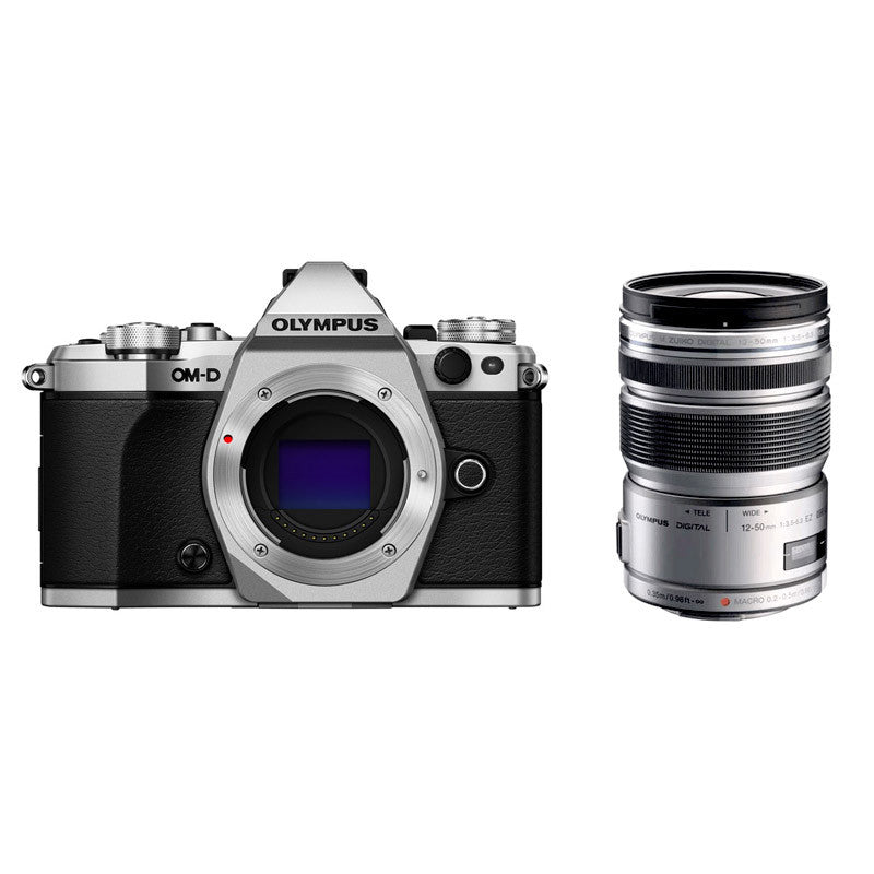 Olympus OM-D E-M5 Mark II with 12-50mm Lens Mirrorless Micro Four Thirds Silver Digital SLR Cameras