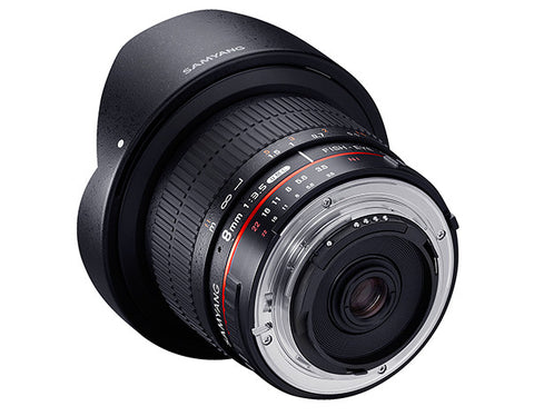Samyang 8mm f/3.5 Fish-eye CS II with hood (Sony Nex) Lens