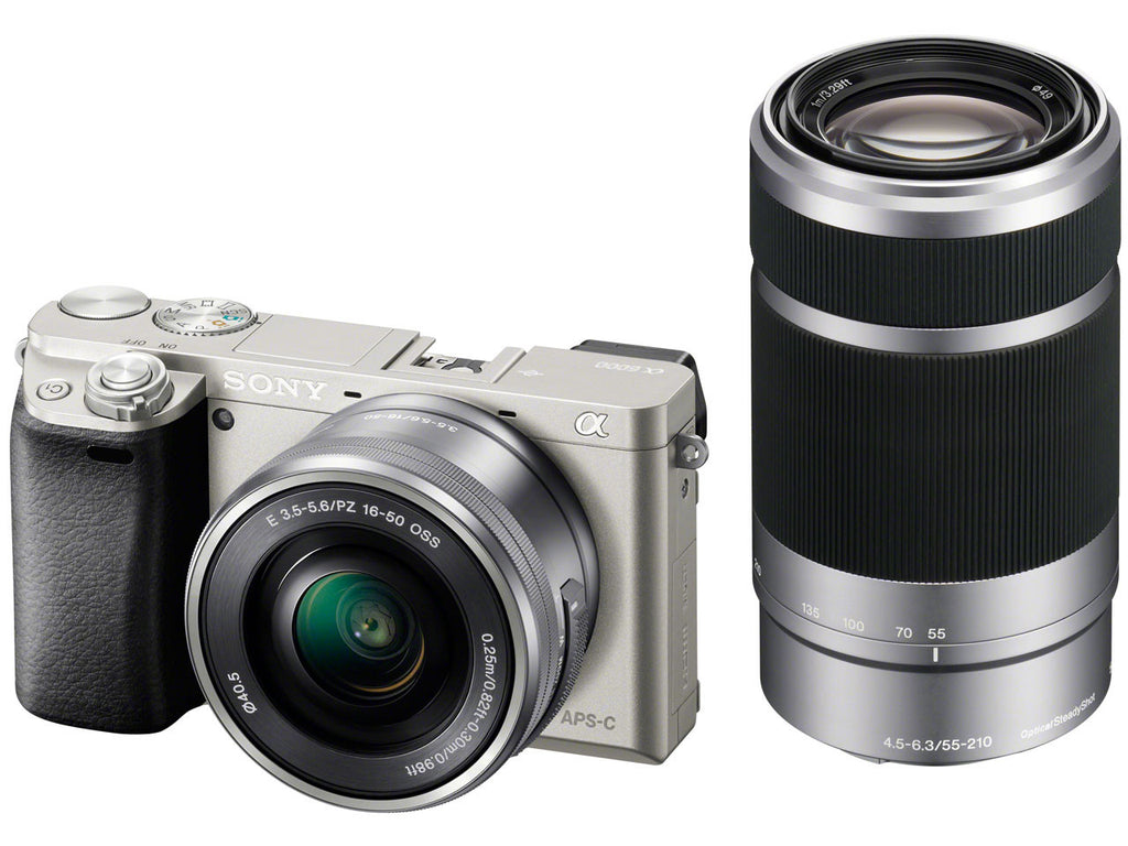 Sony Alpha A6000 with 16-50mm and 55-210mm Lenses Silver Mirrorless Digital Camera