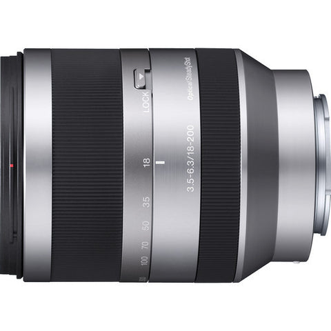 Sony SEL18200  E 18-200mm F3.5-6.3 OSS (For NEX) Silver Lens