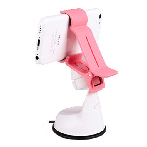 Universal Car Suction Mount Smartphone and GPS Holder Pink