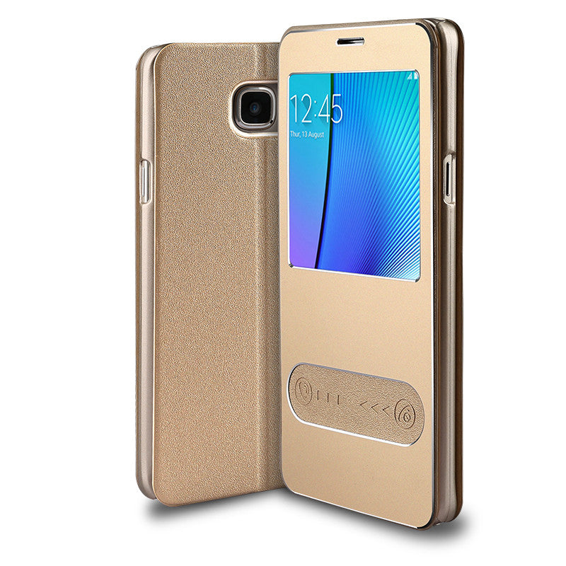 Samsung Galaxy Note 5 Leather Flip Cover (Tyrant Gold)