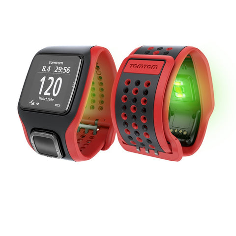 TomTom Multi-Sport GPS Watch with Built-in Heart Rate Monitor, Cadence/Speed Sensors and Altimeter (Red/Black)