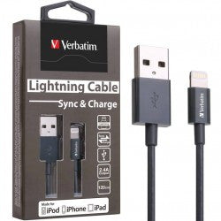 Verbatim Colorful Lightning Cable Sync & Charge 120cm to suit Apple iPhone and iPad (Space Grey)
