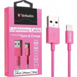 Verbatim Colorful Lightning Cable Sync & Charge 120cm to suit Apple iPhone and iPad (Pink)