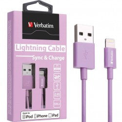 Verbatim Colorful Lightning Cable Sync & Charge 120cm to suit Apple iPhone and iPad (Purple)