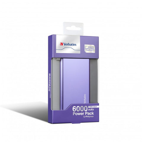 Verbatim 6000 mAh Li-Polymer Power Pack (Purple)