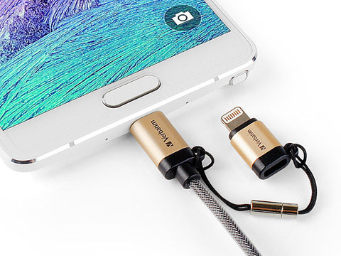 Verbatim Metallic 2-in-1 Cable Sync & Charge 120cm to suit IOS and Android (Gold)