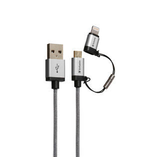 Verbatim Metallic 2-in-1 Cable Sync & Charge 120cm to suit IOS and Android (Silver)